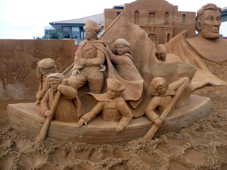4 boat sailing sand sculptures