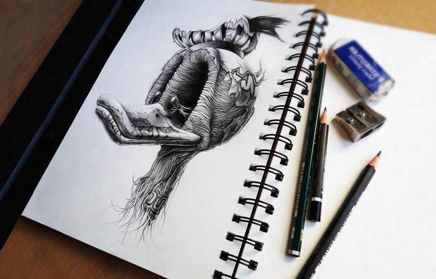 4 cartoon drawings