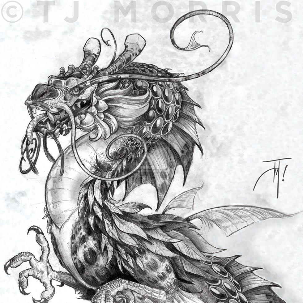 4 dragon drawings by tj morris
