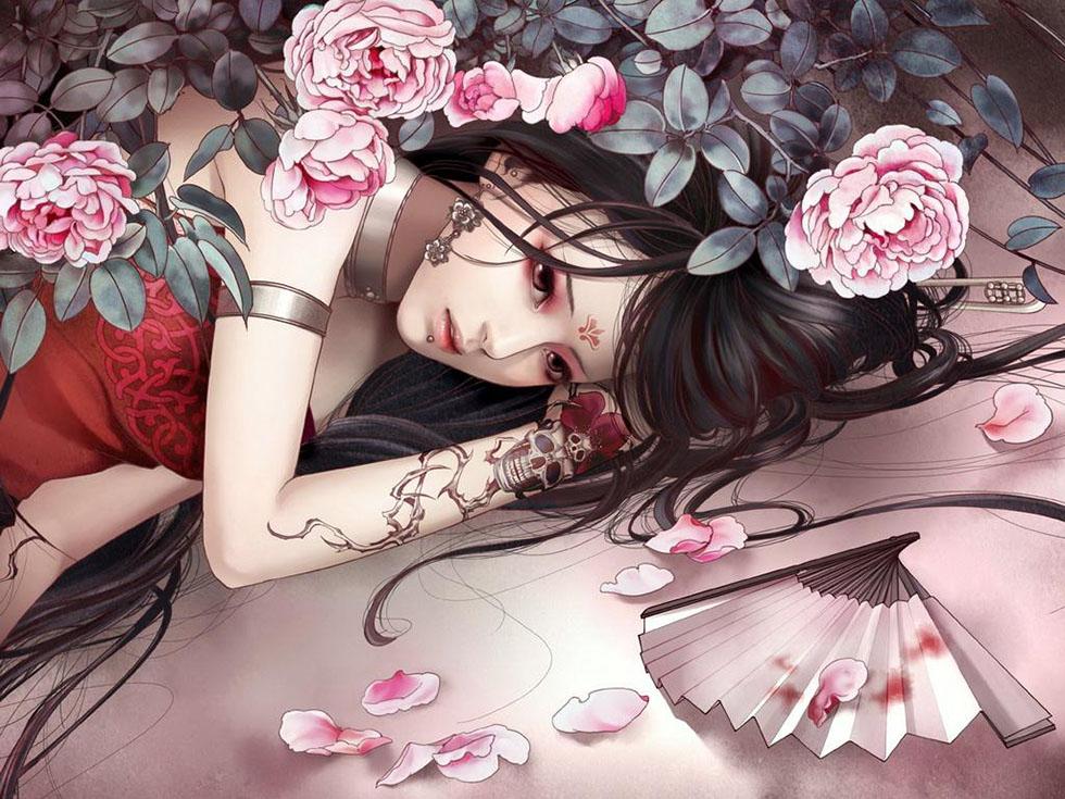 4 flower girl fantasy art