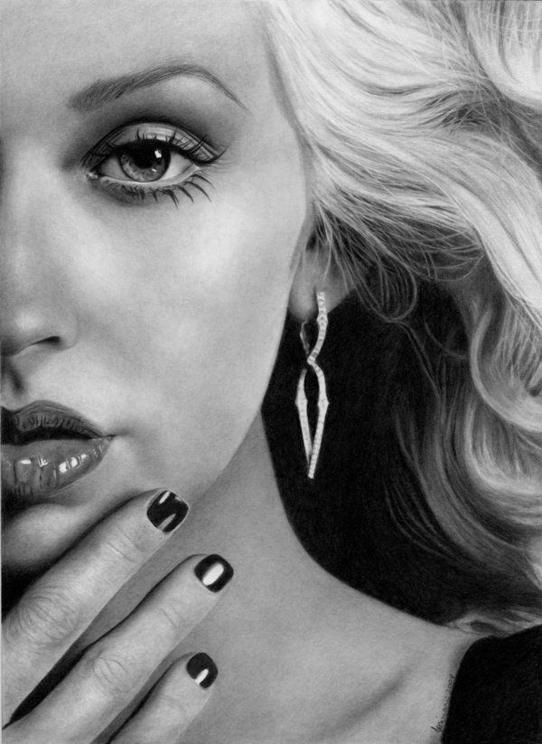 5 christina aguilera pencil drawings