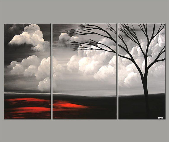 5 grey tree painting by osnat tzadok