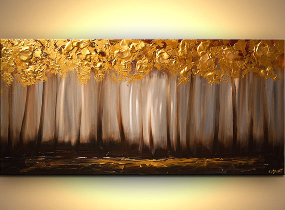 6 gold tree painting