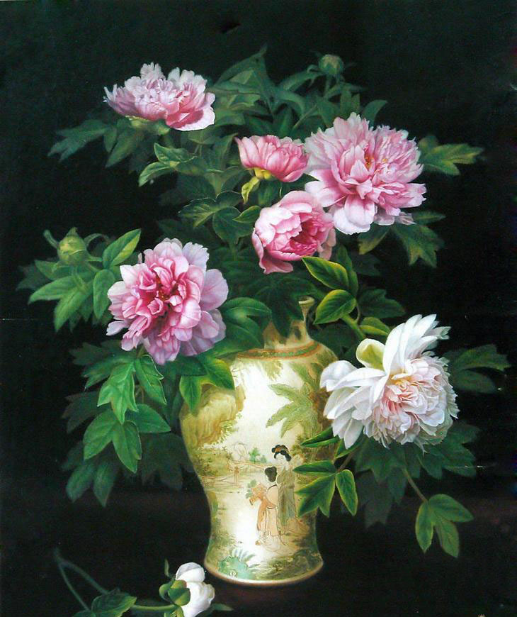 7 beautiful flower vase paintings