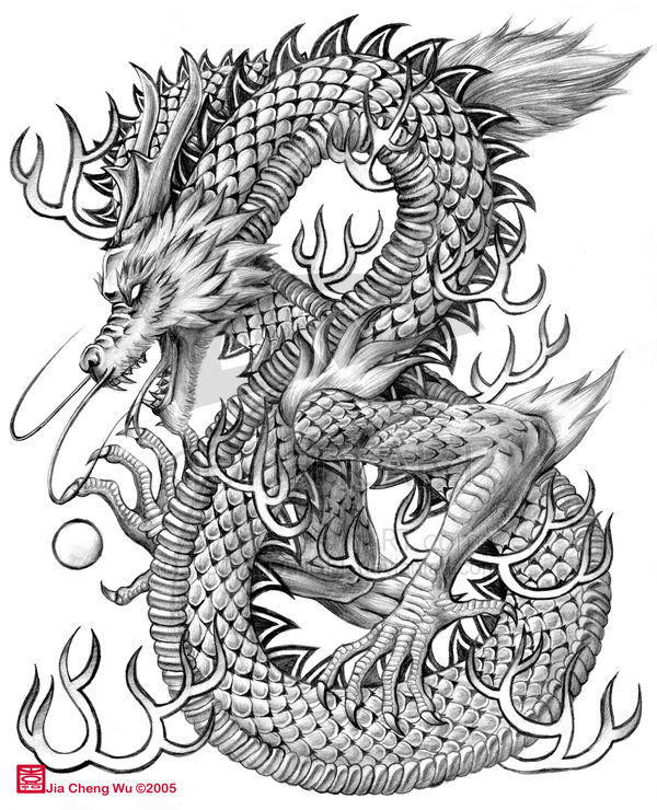 7 chinese dragon drawings