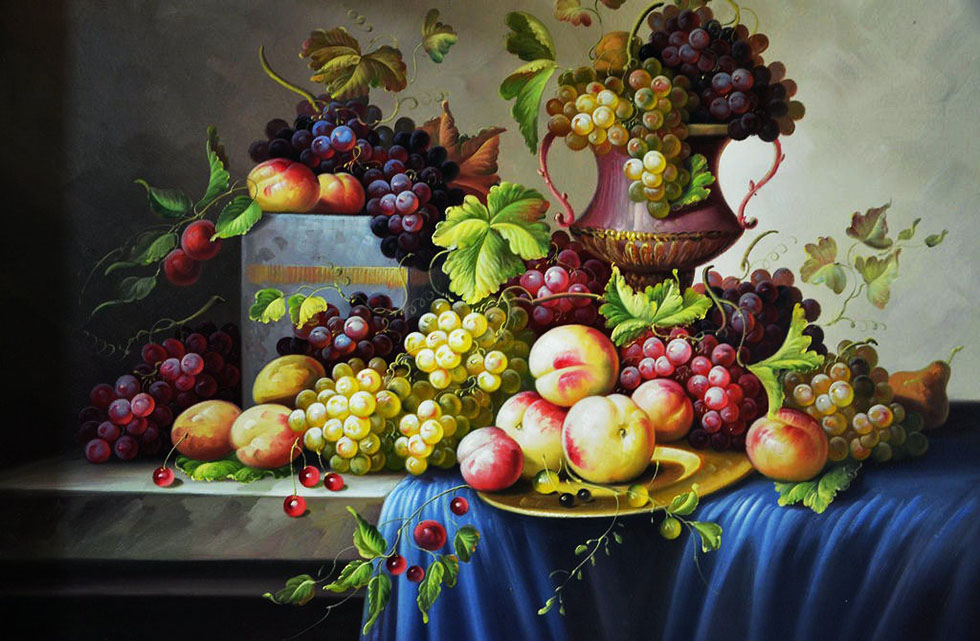 7 fruits still life painting
