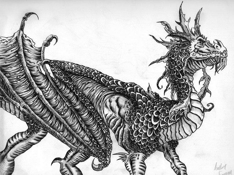 8 chinese dragon drawings
