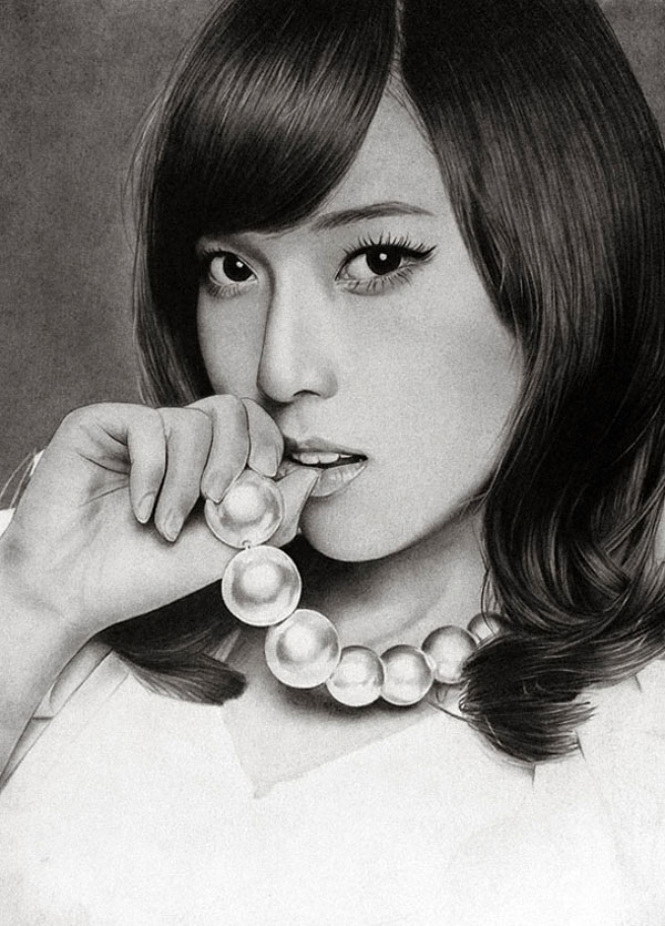 8 girl charcoal drawings by klsadako