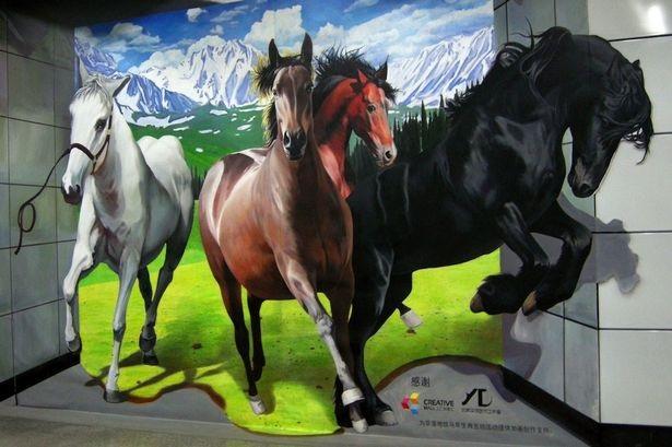 8 horse wall mural art
