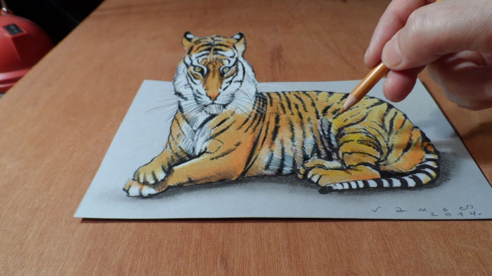 8 tiger 3d drawings