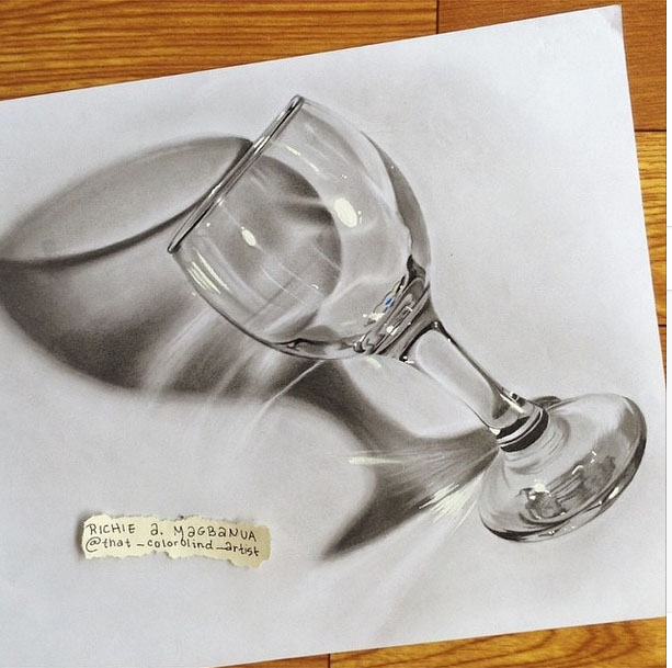 9 glass 3d drawing by richie magbanua