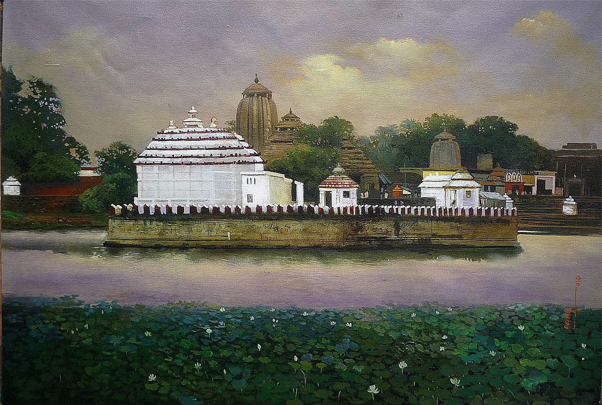 indian temple acrylic painting