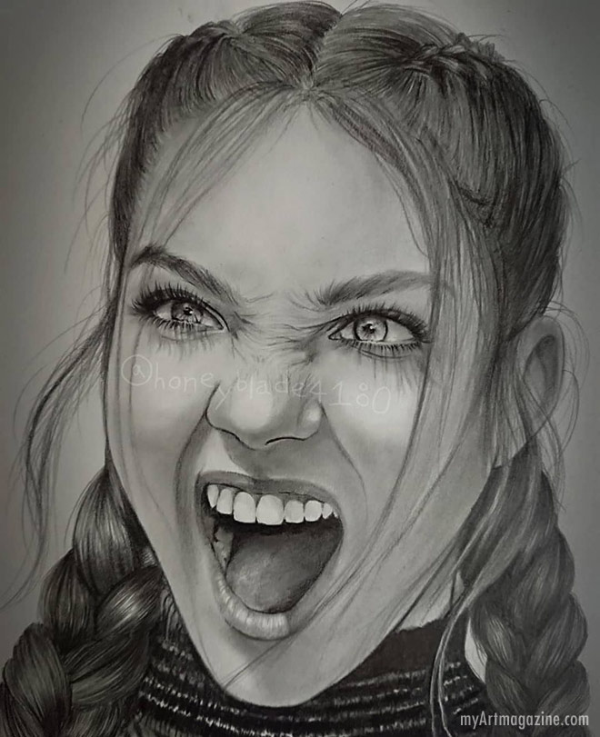 drawing pencil realistic girl by honeyblade