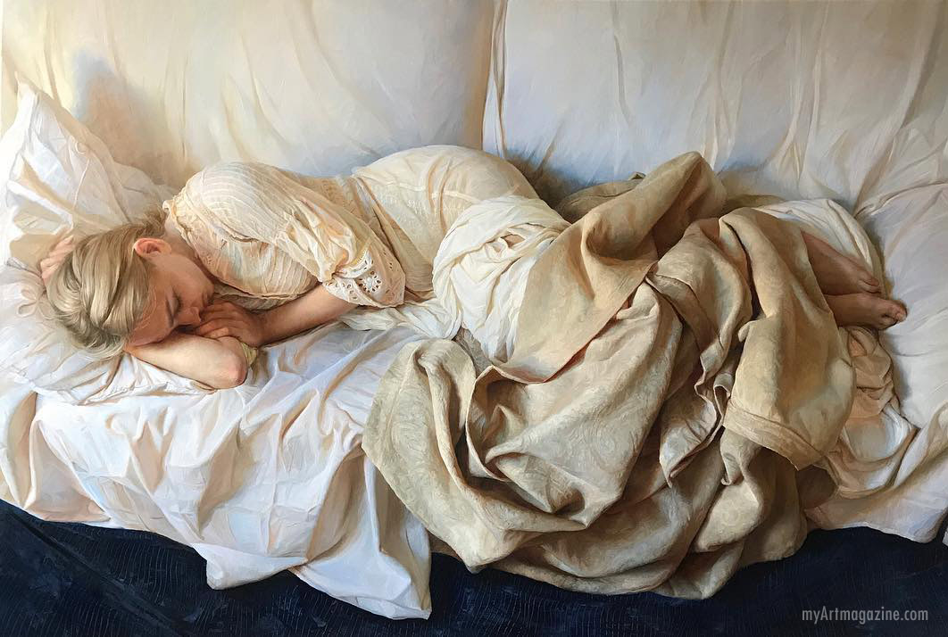 painting hyper realistic woman sleeping