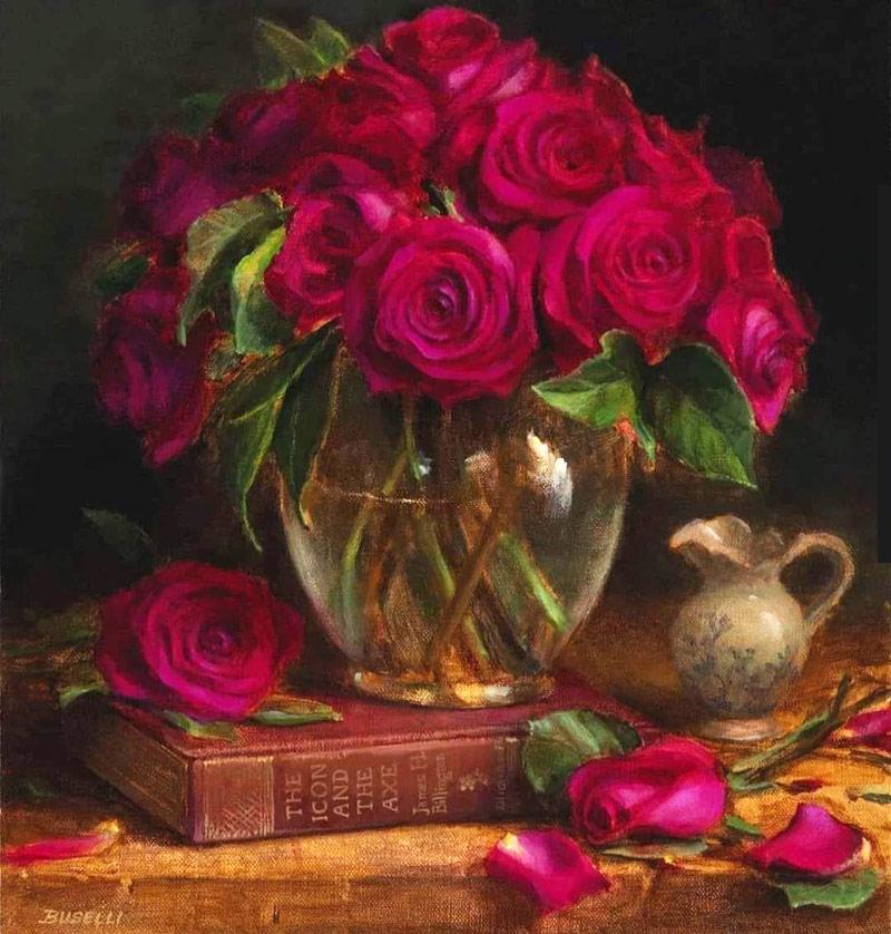 acrylic painting vase flowers by ellen buselli