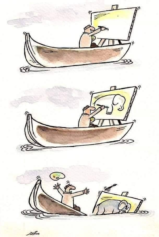 funny drawing ship sinking elephant