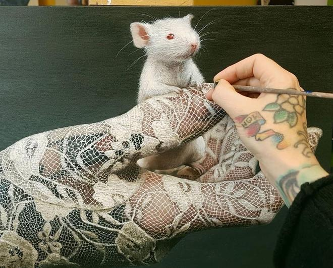 painting mice in hand by jackee sandelands