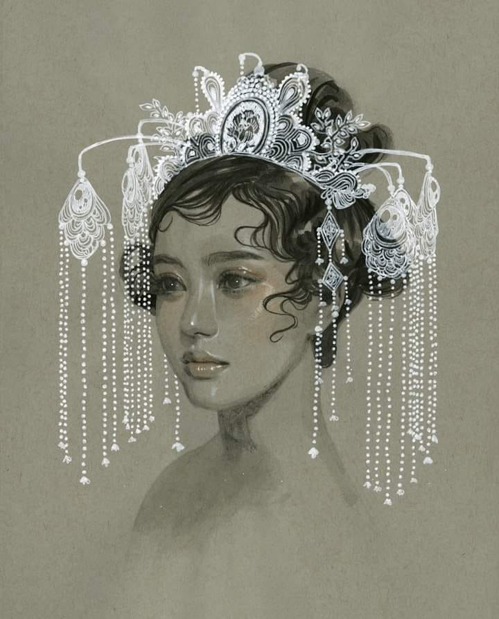 painting monochrome wedding dress by tran nguyen