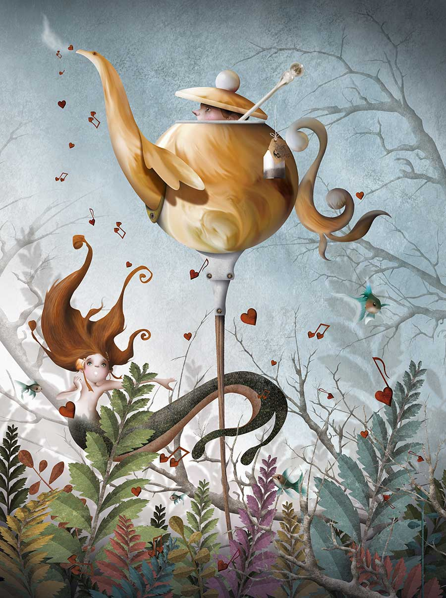 surreal painting musical kettle by antonio sanchez