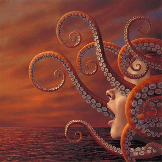 surreal painting octopus woman