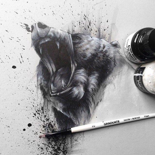 dog painting by solwhiteside