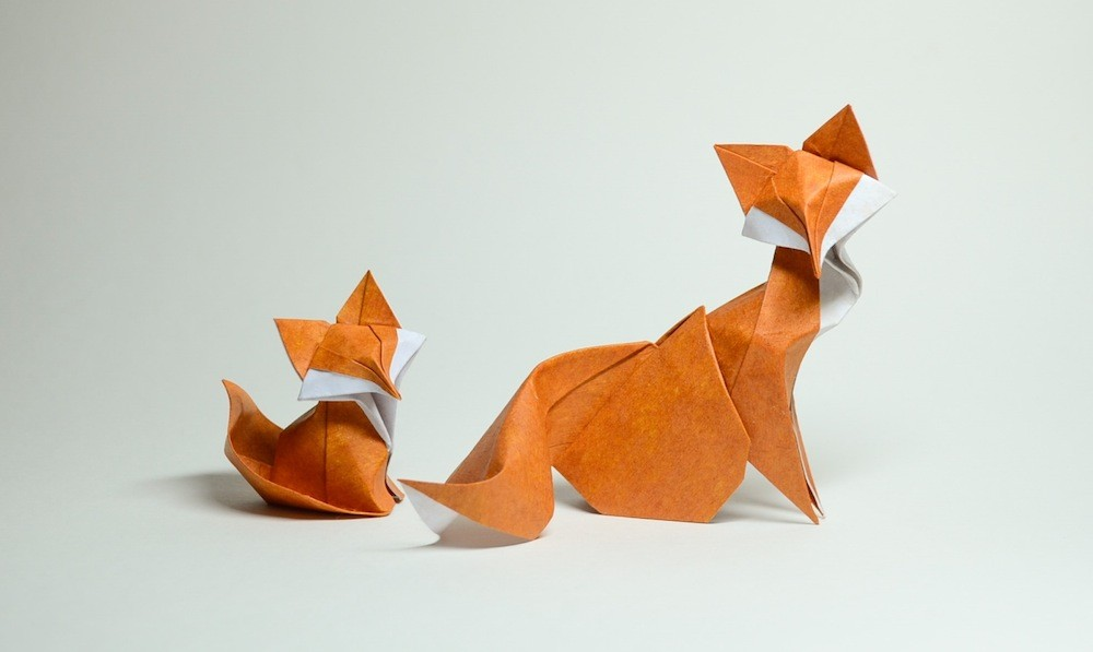 10 fox paper sculptures art