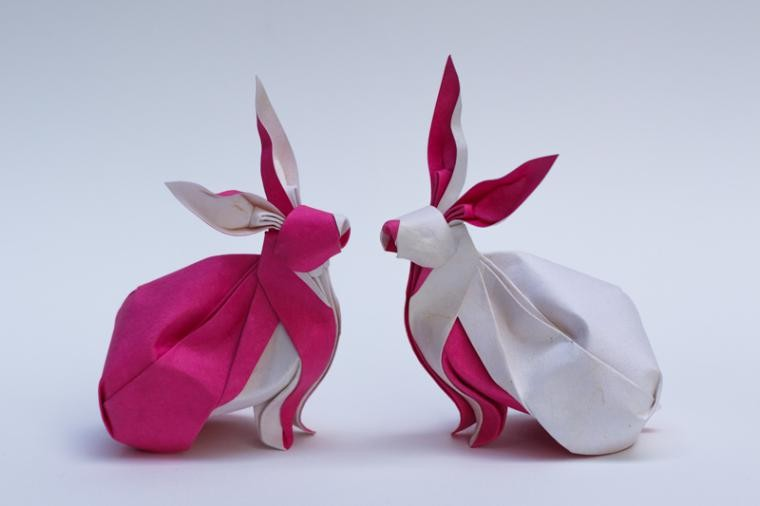 12 twin rabits paper sculptures art by nguyen gung cuong