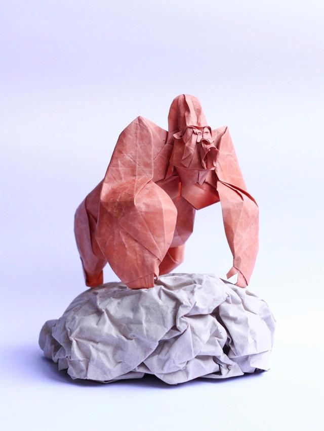 2 gorilla paper sculptures art