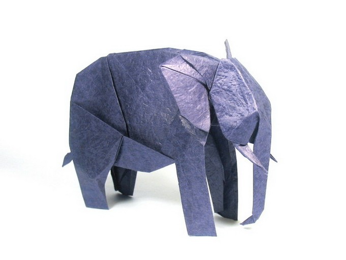 5 elephant paper sculptures art