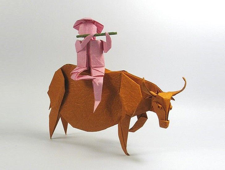 7 brown water buffalo paper sculptures art by nguyen gung cuong