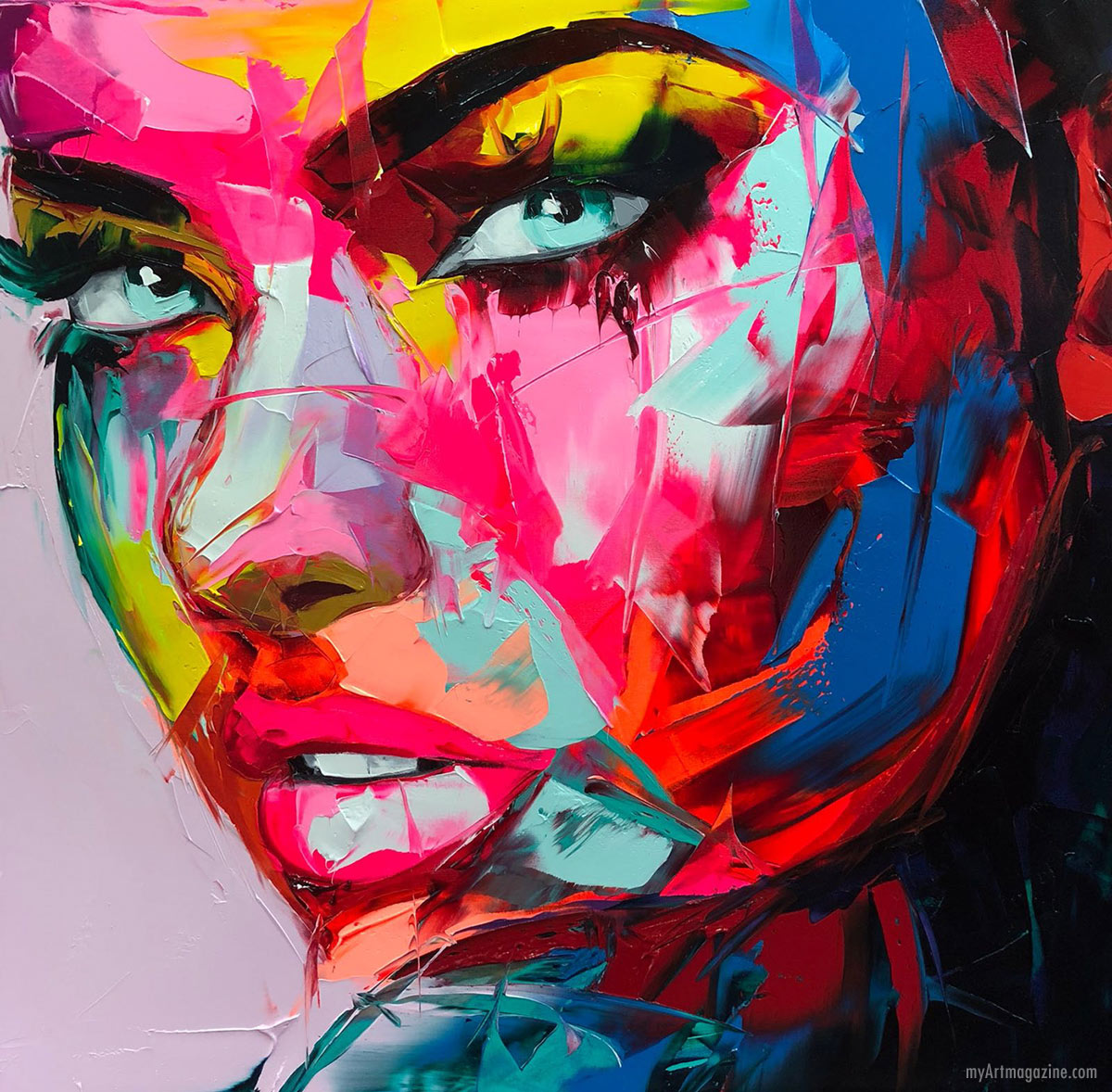 acrylic painting keywest portrait by nielly francoise