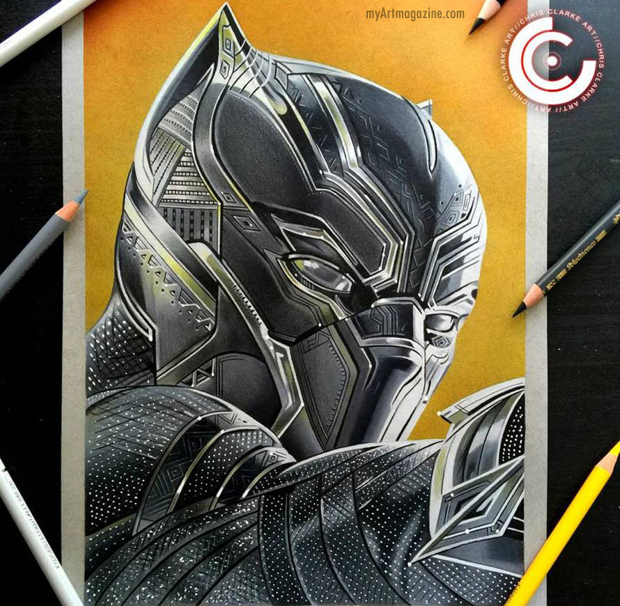 color pencil drawing black panther