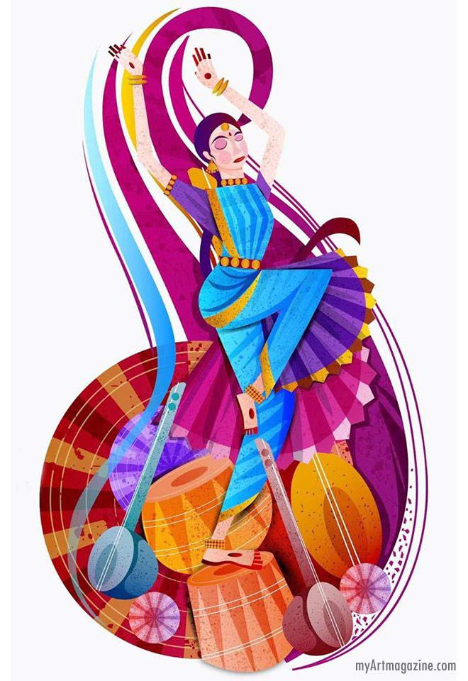 digital art painting indian dance bharatnatyam by prashant sable