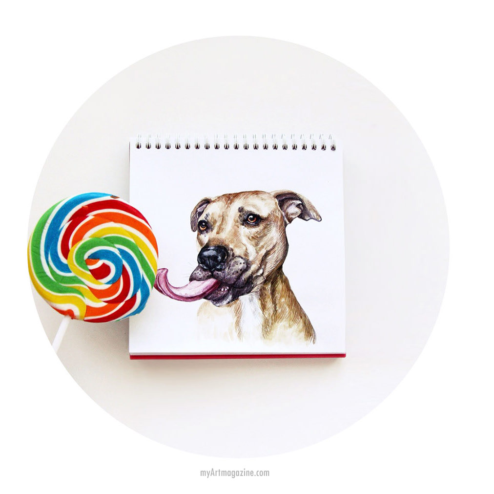 funny drawing dog lollipop lick by valeria susik