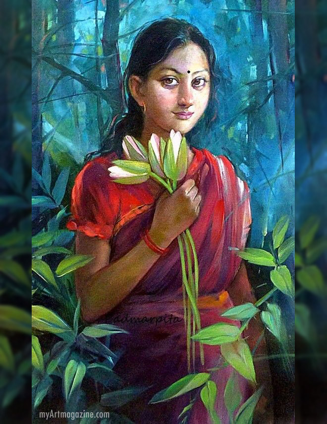 indian painting girl with flower by badmarpita