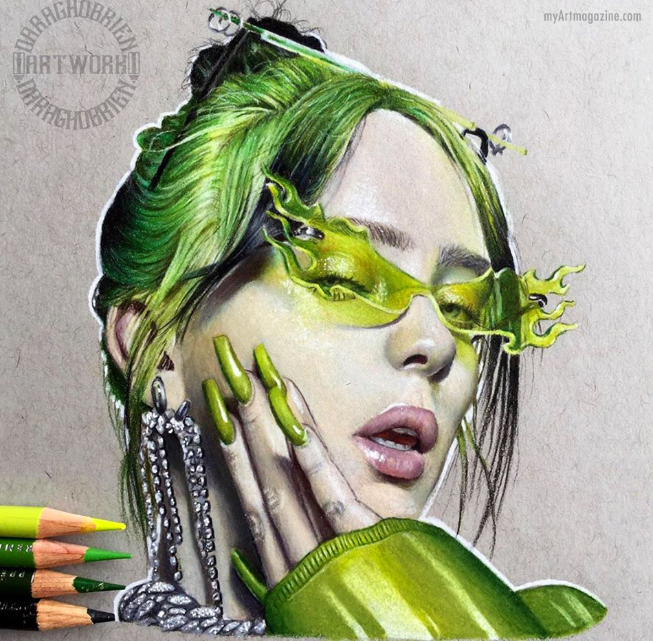 realistic color pencil drawing woman by daragh obrien