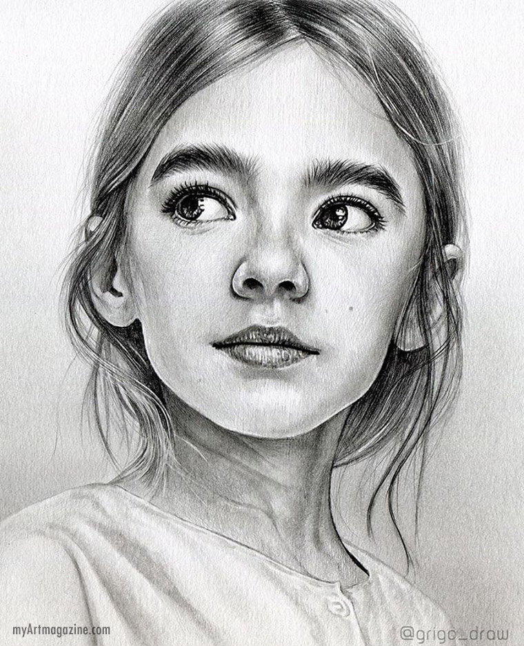 realistic portrait pencil drawing girl by grigo draw