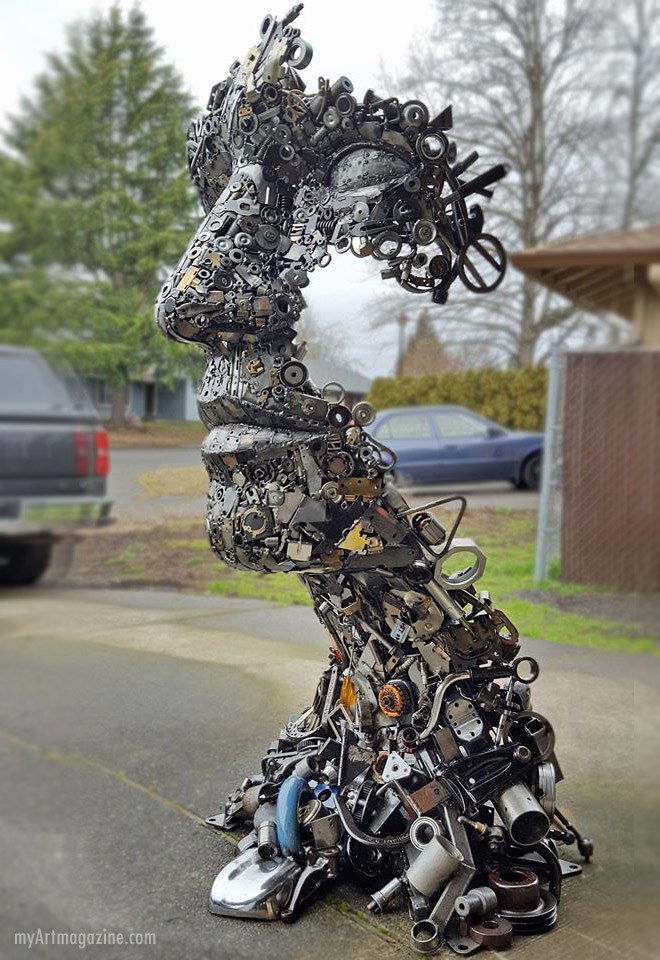 recycled metal sculpture by brian mock