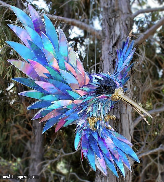 scrap cd sculpture bird