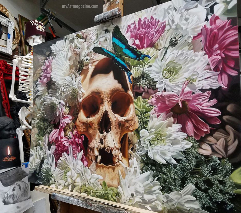 skull flowers painting by cam rackam