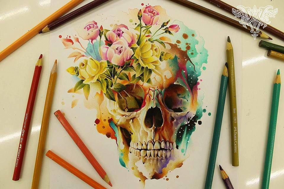 skull color pencil drawings