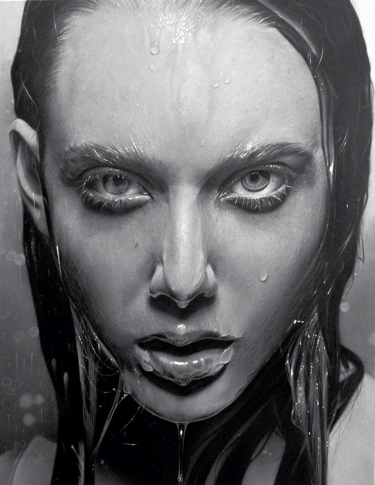 charcoal drawing portrait woman water drops