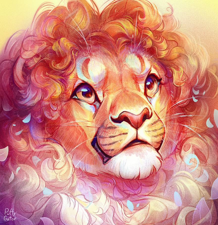 digital art curly hair lion by puffygator