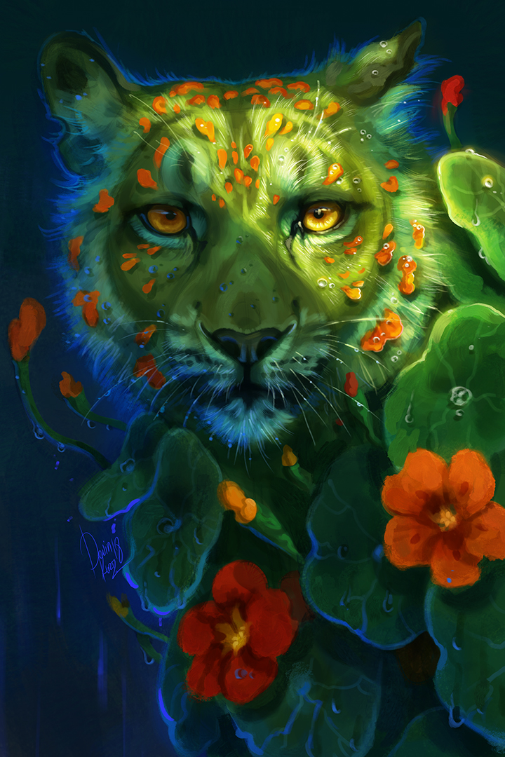 digital art tiger green