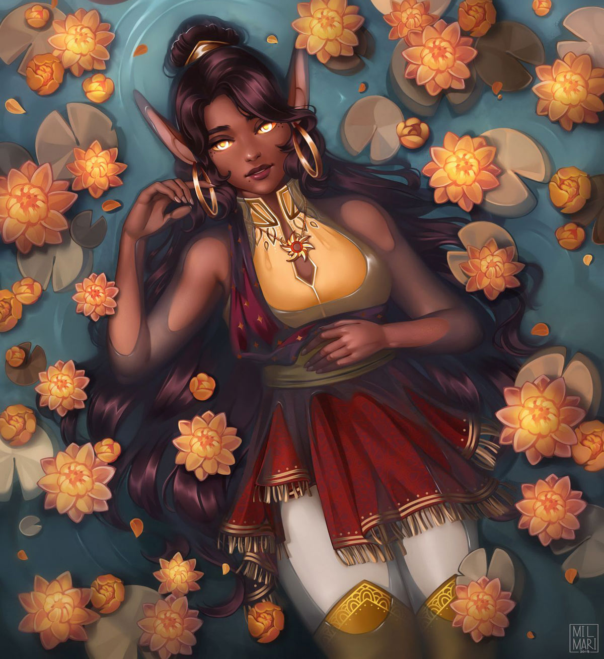 digital painting black girl princess lotus by milmari
