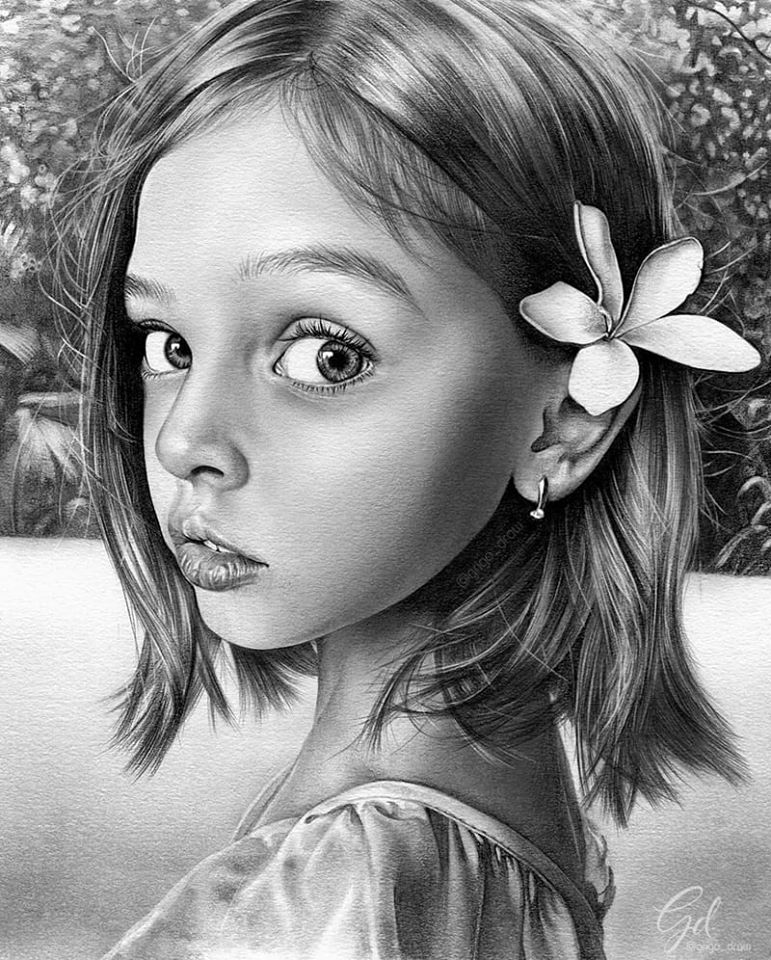 portrait pencil drawing girl by grigo draw