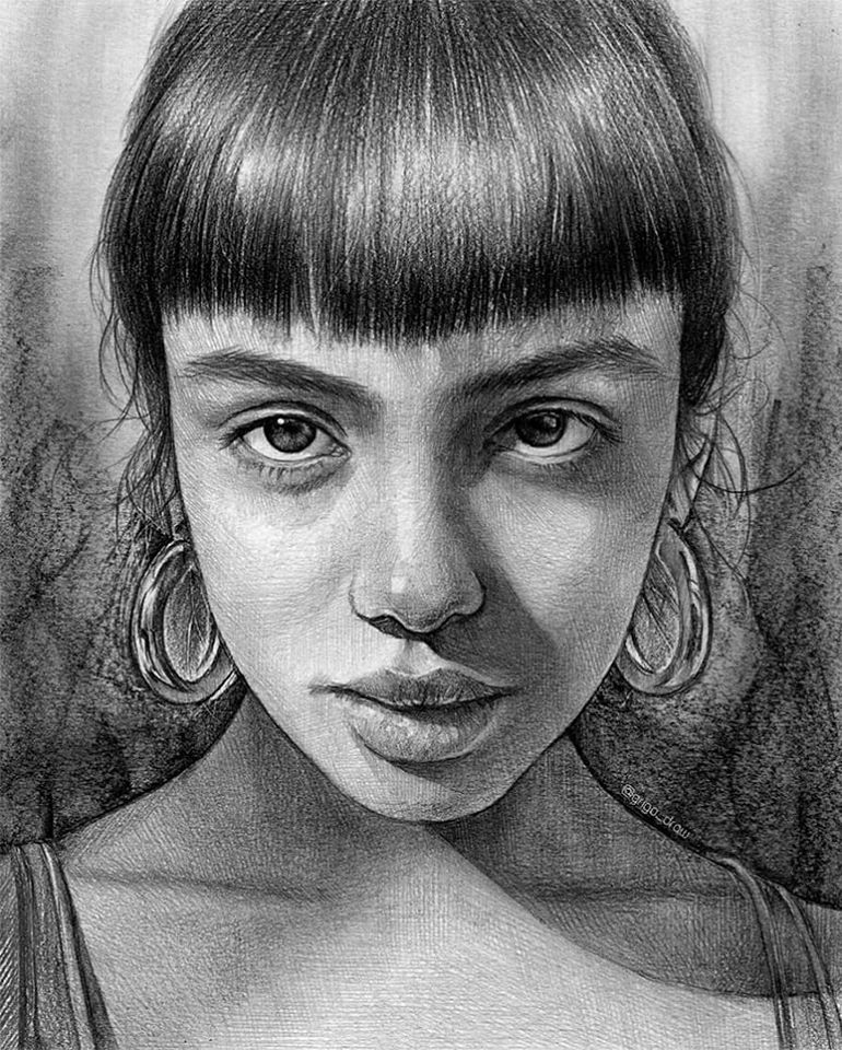 realistic pencil drawing portrait girl by grigo draw