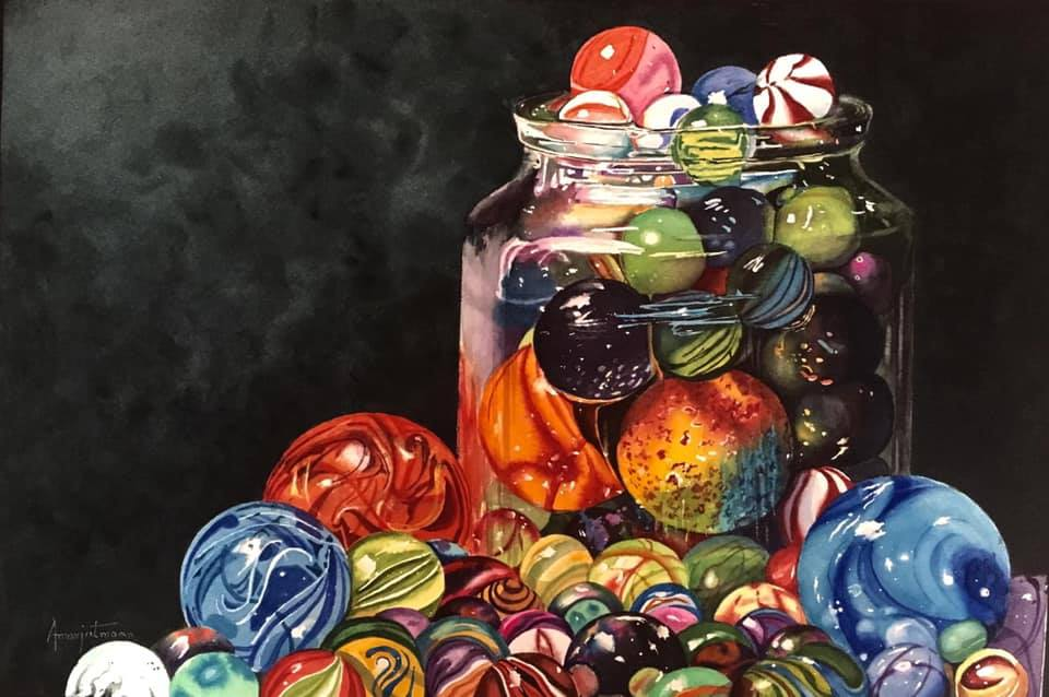 hyper realistic watercolour painting glass ball by amarjeet maan