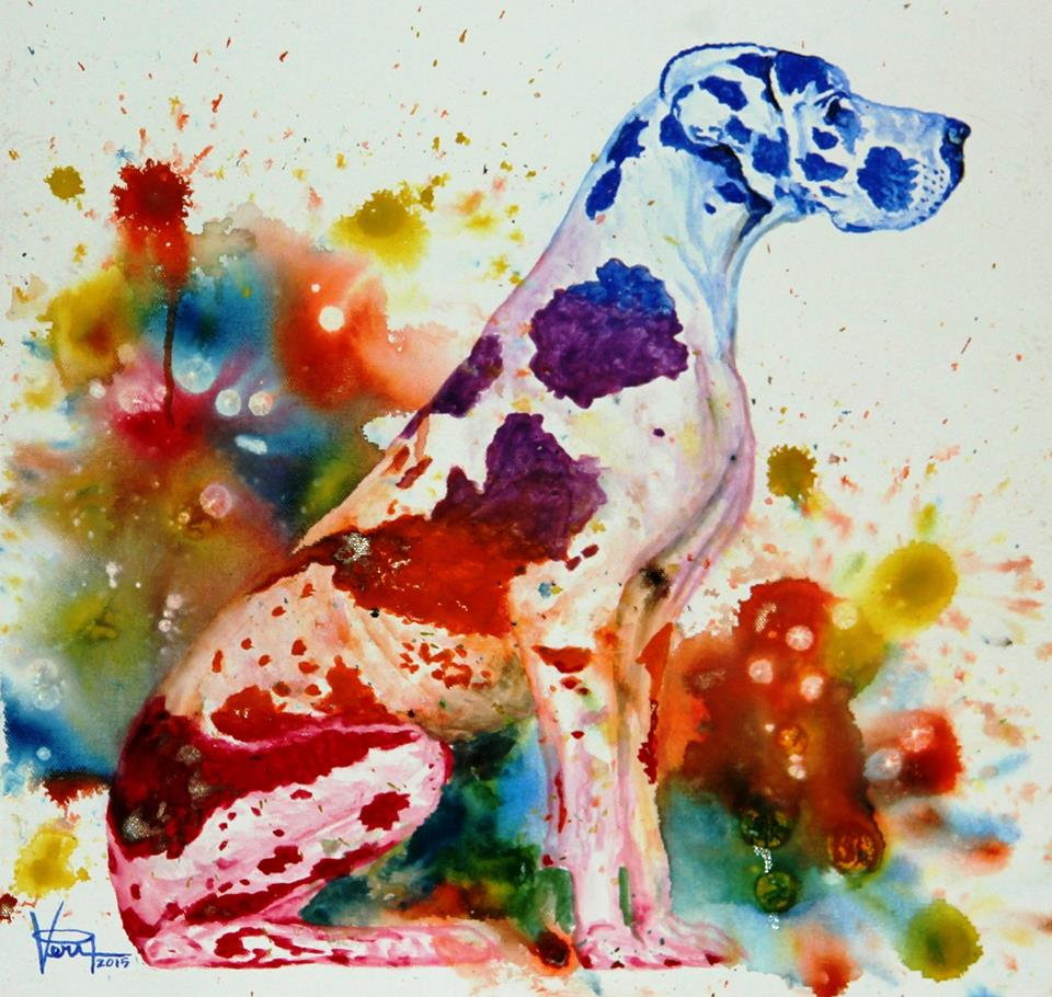 dog watercolor painting by  veri apriyatno