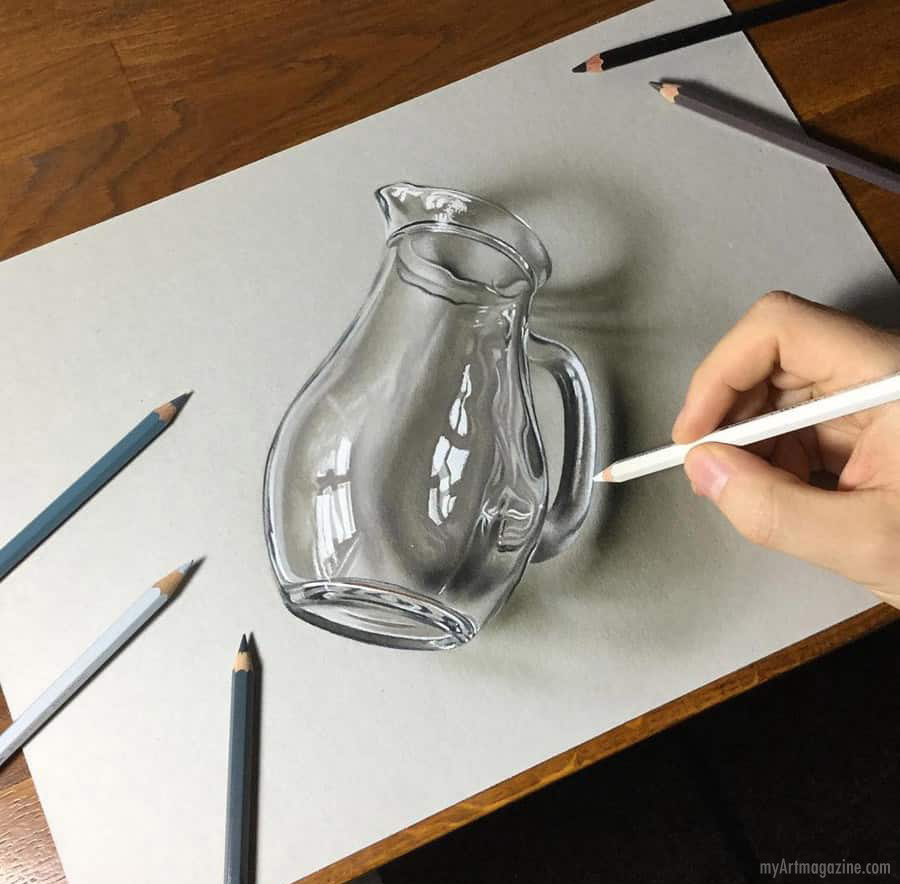color pencil drawing realistic glass jar